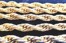 "Buy 18K Gold Overlay Classic Rope Chain Necklace 5mm .Lifetime Warranty 18"" - 36"""