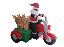 Buy 6 Foot Long Inflatable Santa Claus And 3 Reindeers In A Motorcycle Halloween Hol