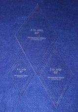 "Buy 3 Piece Set Quilt Diamonds 1/8"" 2"", 3"", 4"" w/seam allowance measurement"