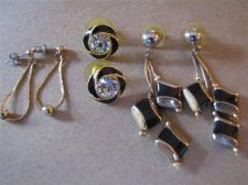 Buy 3 Pair of Black & Gold tone Dangling and Rhinestone Stud Pierced Earrings # 94