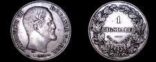 Buy 1854(c) FK/VS Danish 1 Riksdaler World Silver Coin - Denmark - Frederik VII