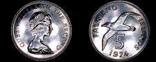 Buy 1974 Falkland Islands 5 Pence World Coin - Albatross