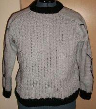 Buy Sweater Gray and Black Acrylic handknit Crewneck size Medium