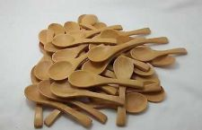 Buy SPOON WOODEN SMALL SUGAR, SALT, CREAM WOOD UTENSIL WHITE X 10 PIECES