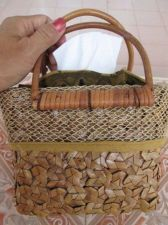 Buy Picnic Basket Hand Woven,Brown Leaves Bag & Rattan Wood Handles + Tissue Paper