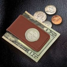 Buy Brown Leather Magnetic Money Clip