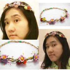 Buy HEADBAND TIARA ROSE FLOWER WITH POLLEN ROPE FLORAL HAIR HIPPY BOHO HANDMADE.