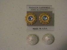 Buy Set of Silver dome & Gold tone flower w/ blue faux gem pierced earrings # 3038