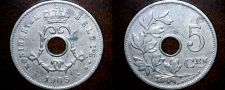 Buy 1905 Belgium 5 Centimes World Coin