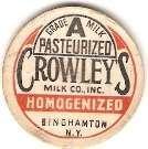 Buy New York Binghamton Milk Bottle Cap Name/Subject: Crowley's Milk Co Grade ~411