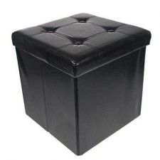 Buy Rest Coffee Seat Foot Storage Ottoman Faux Leather Collapsible Foldable Table