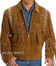 Buy Mens Biker BRAIDED BONED Brown SUEDE Leather WESTERN FRINGE Motorcycle Jacket