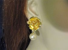 Buy Sarah Coventry Jewelry Rose Pearl Bobby Drop Prcd Earrings (Gold in Bloom) #1042