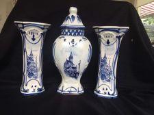 Buy ANTIQUE BLUE & WHITE DELFT POTTERY GARNITURE SET 2 VASES & COVERED URN Mantle