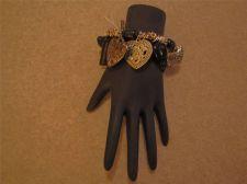Buy Womens Fashion Silvertone & Black Heart Charm Stretch bracelet # 43