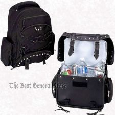 Buy Black 2pc Heavy-Duty PVC Motorcycle Cooler Trunk Bag and Backpack Chrome Studs