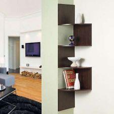 Buy Wall Mount Hanging Corner Zig Zag Shelf Book CD Rack Wood Storage Display Mantle