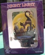 Buy Black Cat with flying bats Night Light Halloween