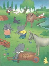 Buy Babar The Elephant Donkey Cattle Dog Wheelbarrow Kids Art 1993 French print