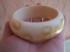 Buy Rare African Chinese faux cow bone bangle bracelet Tribal Carved 67 Grams