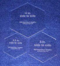 "Buy 3 Piece Hex Set 2 1/2 "",3"" ,4"" 1/8"" Clear Acrylic - Cut Width of Fabric Strips"