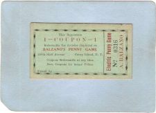 Buy New York Coney Island Amusement Park Ephemera Coupon Balzano's Penny Game ~483
