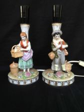 Buy antique GERMAN porcelain pair of lamps with figurines . Marked