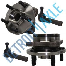 """Buy 4 pc Set - 2 Front Wheel Hub and Bearing Assembly w/ 14"""" Wheel + 2 Outer Tie Rod"""