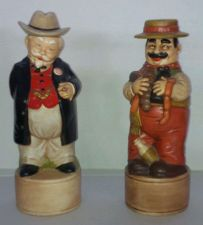 Buy Vintage PAIR 1970' Ceramic Statues (removable hats/lids) Hand Made