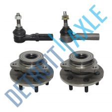 Buy 4 pc Set - 2 Wheel Hub and Bearing Assembly + 2 Outer Tie Rod; 4WD w/o ABS