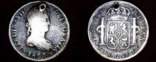 Buy 1821 PTS-PJ Bolivian 8 Reales World Silver Coin - Ferdinand VII - Holed