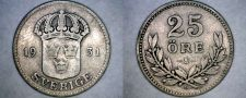 Buy 1931-G Swedish 25 Ore World Silver Coin - Sweden