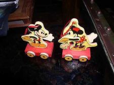 Buy Disney Mickey and Minnie Wood hand painted 2 Ornaments Figurines