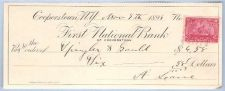 Buy New York Cooperstown Cancelled Check First National Bank Check # Dated: No~4