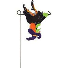 Buy Upside Down Flying Witch Applique Garden Flag Halloween Holiday Decor Outdoor Se