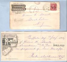Buy New York Buffalo Envelope From Foster Milburn & Co To Hiram A Straih Stock~2798