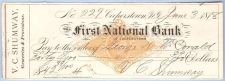 Buy New York Cooperstown Cancelled Check First National Bank Check #229 Dated:~3