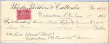 Buy New York Cooperstown Cancelled Check Bundy Brothers & Cruttenden To the Fi~22