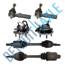 Buy 6 Pc Set: 2 Front CV Drive Axle + 2 Wheel Hub Bearing w/ ABS + 2 Outer Tie Rod