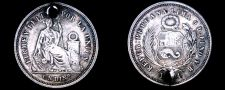 Buy 1864/3-YB South Peruvian 1 Dinero World Silver Coin - South Peru - Holed