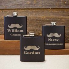 Buy Black Matte Mustache Flask - Free Personalization