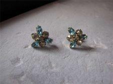 Buy Vtg Aqua Blue & Crystal Screwback Earrings...1/20 12K Gold filled