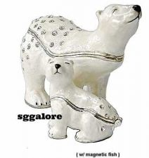 Buy Collectible RUCINNI Swarovski Crystals BeJeweled POLAR BEARS Trinket BOXES Set