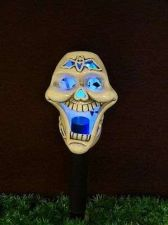 Buy Ceramic Halloween Skull Solar Powered LED Light Lawn Decoration Color changing