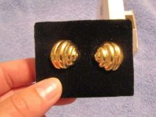 Buy Sarah Coventry Jewelry Tailored button w/soft ribs earrings (Eternal post) #1153