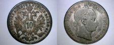 Buy 1870 Austrian 10 Kreuzer World Silver Coin - Austria