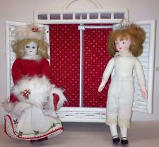 Buy HOUSE OF HATTEN Antique/Collectable Wicker Cabinet & 2 Dolls 1940s(?)