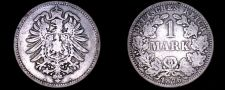 Buy 1876 A German Empire 1 Mark World Silver Coin - Germany