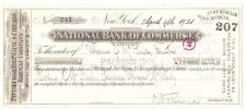 Buy New York New York Cancelled Check Nationl Bank Of Commerce Check #207 Date~83