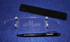 "Buy Engraved Pen, Presentation Pouch & Engraved 1/4"" Acrylic Stand Choice"